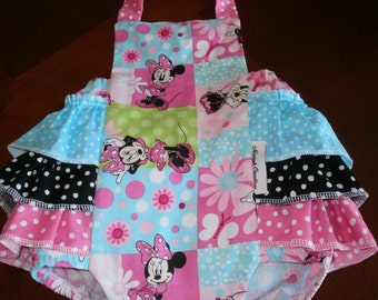 Baby Romper, Baby Sunsuit, Bubble Romper, Ruffle Bottom, Girl Clothing, Minnie Mouse, Hot Pink Romper, Birthday Clothing,Summer,Disney,Snaps