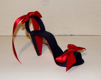 Paper Shoe Keepsake, Navy Blue with Red Sole Sandal Stiletto Sandal Keepsake Shoe, Art Sculpture. Centerpiece, Original Design