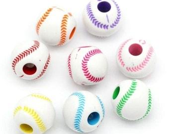 100 pcs. Softball Assortment Acrylic Round Beads - 12mm x 11mm (8 Colors)