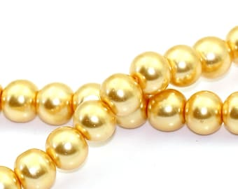 8mm Yellow Champagne Gold Glass Pearl Imitation Round Beads - 32 inch strand