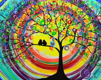 tree painting sunset love birds an evening together large original colorful abstract acrylic on canvas 24x36 in. by artist Mariana Stauffer