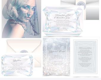 Madame Grey. Diamonds Wedding invitation Suite. invitation sample. Printing services available