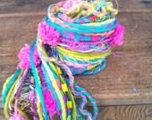 Art yarn fiber bundle, novelty yarn, specialty yarn, bright pink, turquoise,  lime green, 20 yards
