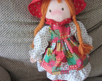 """Knickerbocker Christmas Holly Hobbie 18"""" cloth doll distributed by Zayre's in 1990s"""