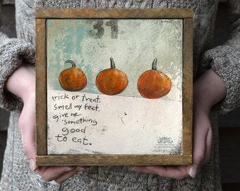 Halloween Art, Trick or Treat Pumpkins Picture, Pumpkin Prints, Whimsical Halloween Decor, Halloween Illustration, Trick or Treat print