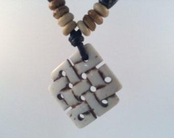 Antiqued Tibetan Eternal Knot Yak Bone Pendant Necklace
