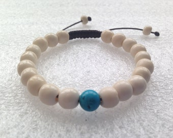 Tibetan mala Yak bone Wrist mala Bracelet with Turquoise Spacer for meditation