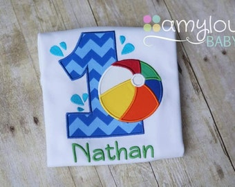 Splash Swim Pool Party Personalized Birthday BODYSUIT - Short or Long Sleeves - Beach Ball - Blue, orange, Yellow, Red, Green - Boy