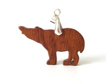 Tapir Necklace Wood Animal Pendant Hand Cut Wooden Tapir Jewelry Sapele