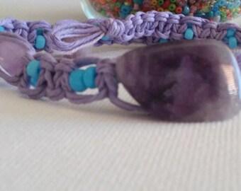 Hemp beaded necklace/hemp choker/amethyst choker/beaded necklace