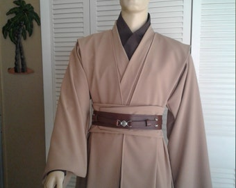 Star Wars Jedi Knight Size Small Camel Color  5 Piece Handmade Costume with Full Undertunic