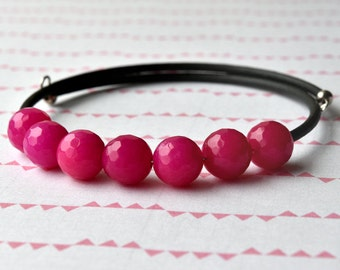 Pink Quartzite Bracelet, Gemstone Bangle, Hot Pink Bracelet, Pink and Black, Wrap Bracelet, Gift for Her, Friendship Bracelet, UK Jewellery