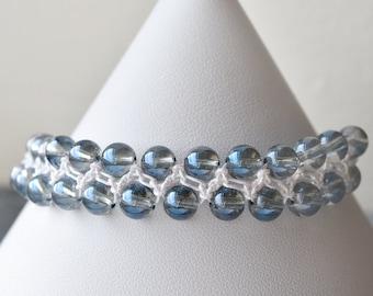 Blue Bracelet, Rainbow Quartz, Macrame Bracelet, Gemstone Jewellery, Clear Blue Quartz, Rainbow Metallic, UK Jewellery
