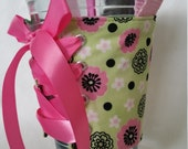 Handle - Adjustable - Reversible - Cup Corset - Pink and Green - Floral - Spring - Coffee Cozy with Handle - Cup Holder