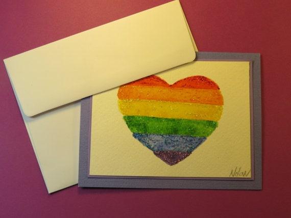 RAINBOW HEART FLAG Note Card, Original Watercolor Card (Blank Inside)