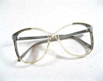 Black and white 80s oversized frames. stripe pattern. new old stock/NOS/deadstock no lenses.
