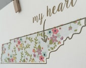 Tennessee Art Print - 5 x 7 - Floral and Gold