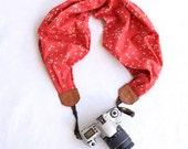 scarf camera strap coral confetti - BCSCS010