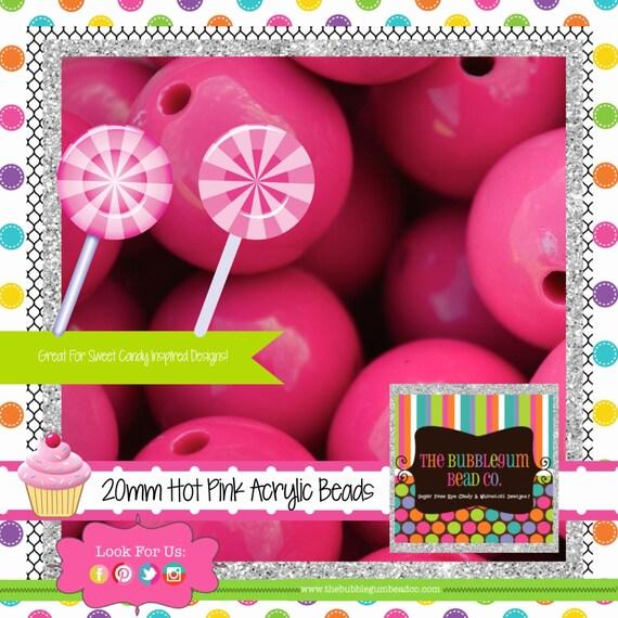 hot pink bubblegum beads20mmgumball by thebubblegumbeadco. Black Bedroom Furniture Sets. Home Design Ideas