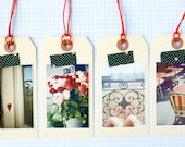 NEW Photography Gift TAGS  - PARIS memories, Set of 4 Luggage Tags, Red Roses, Love Heart, Paris Appartement, Cafe Chairs, Paris Photography