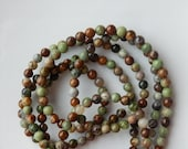 6mm  African  Green opal round beads,   FULL STRAND ( 15 inches)