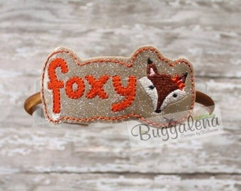 ON SALE Foxy BuggaBand Headband Slider Embroidery Design