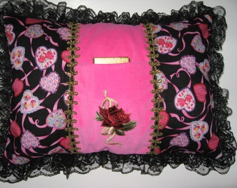 Gift pillow, Black and pink with pocket in front for gift, handmade.