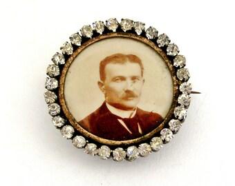 Antique French paste locket brooch
