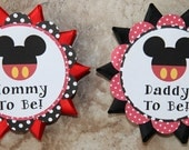 Mickey Mouse Minnie Mouse Theme Button Pin- Baby Shower or Birthday Party