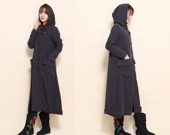 Free Style Long Coat/ Hoodie with Handmade Buttons/ 14 Colors/ RAMIES