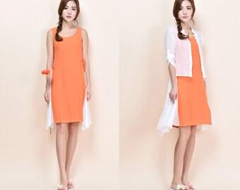 Three different looks/ Two Piece Suit Dress/Elegant Drawstring Silk Sleeveless Dress / 26 Colors/ RAMIES