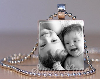 Photo Necklace - Black and White Picture - Scrabble Pendant with Chain - Picture Necklace
