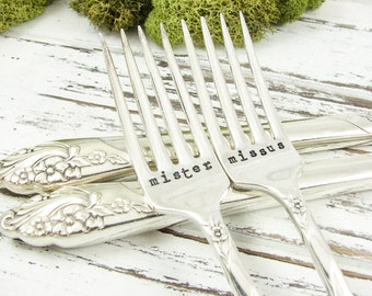 Stamped Wedding Forks. Mister and Missus. Great Engagement or Shower Gift for the Bride and Groom. Vintage Silverware. Table Decor. 311WED