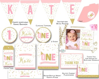 Gold and pink FIRST BIRTHDAY INVITATION Gold and Pink First Birthday Party Printables - Sparkle Confetti Decorations Banner Cupcake Toppers