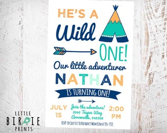 TEEPEE Birthday Invitation - WILD ONE Invitation - Wild one first birthday invitation - Teepee Invitation - Tribal Invitation - Adventure
