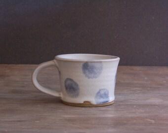 Handmade Mug, Polka Dot Coffee Cup Tea Mug Pottery Mug Ready to Ship Gift for Her