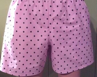 Size XL Plus Pink with Black Polka Dots  Womens Cotton Slumber Party, Pajama bottoms, Lounge, Sleep Shorts, Play Shorts, Boxers.