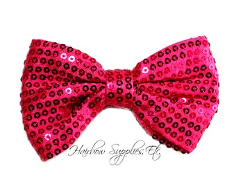 Fuchsia Sequin Basic Bow 4 inch - Fuchsia Bow, Fuchsia Hair Bow, Hot Pink Bow Tie, Shocking Pink Glitter Bow - Hairbow Supplies, Etc.