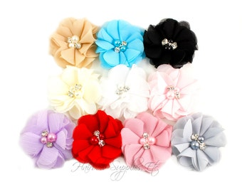 Chiffon Scalloped Flowers 2 inch with Diamonds and Pearls - Fabric Flowers, Chiffon Flower Headband, Chiffon Flowers, DIY Headbands