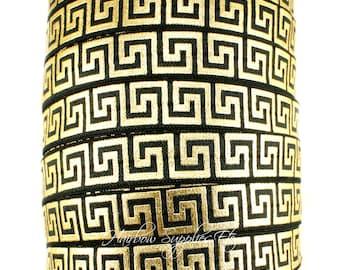 Greek Key Fold Over Elastic - Fold Over Elastic, Hair Elastic Bracelet, Elastic, Hair Elastic Ties, Elastic Ribbon, Elastic Hair Bands
