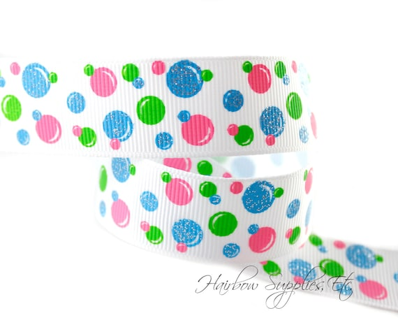 Easter Bubble Dots 7/8 inch Easter Ribbon - Easter Grosgrain Ribbon, Easter Ribbon, Easter Hairbows, Easter Bows, Easter Bunny, Bunny Ribbon