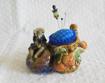 Ceramic Oriental fisherman Pincushion made from vintage Majolica planter - old man and the sea pincushion - upcycled recycled repurposed