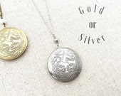 Locket, Antique Gold Bird and Lotus, Long Chain Necklace, 26 inches, also available in Silver