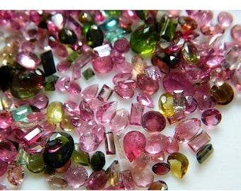 55% ON SALE Tourmaline Stone Pink tourmaline Green Tourmaline Faceted Gemstones 100 Pieces Approx 2.5x3.5mm To 5x7mm Each Aprrox