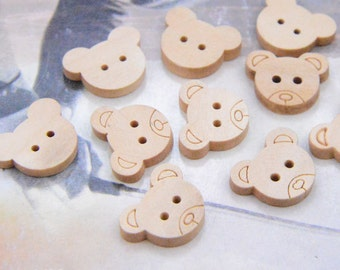 20 Natural wooden buttons, mini buttons, Teddy Bear Heads Buttons, Bear Carved wood buttons, Unfinished Teddy Bear beads 15x18mm