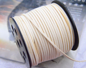 10 yards Cream Faux Suede Cord Leather Lace for Jewelry & Crafts 2.5x1mm