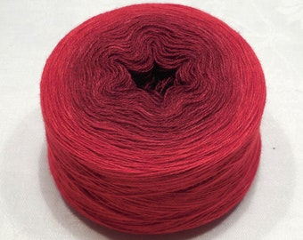 Extrafine merino silk cashmere gradient yarn lace weight yarn handdyed yarn 45-46g (1.6oz) - Brown to red
