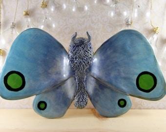 Ceramic Animals Blue Moth Wall Hanging