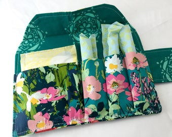 Privacy Pouch - Green Tampon Case - Sanitary Pad Case - Pad Pouch Tampon Bag Tampon Holder Art Gallery Lavish Mothers Garden in Rich