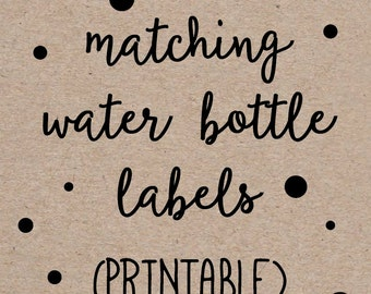 Printable Water Bottle Labels to Match any Invitation Design from OhCreativeOne, DIY digital file